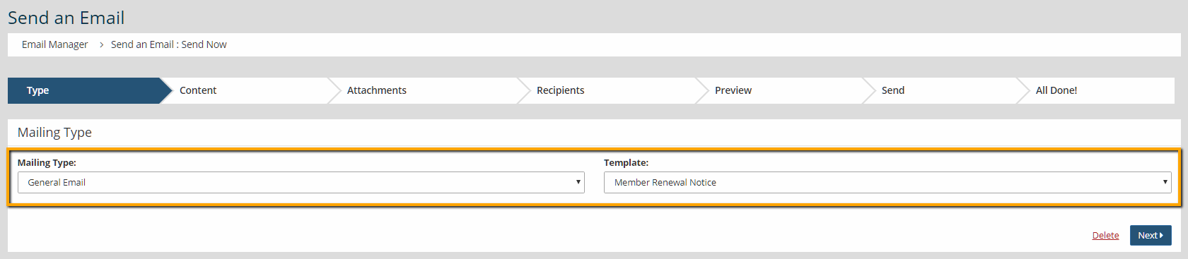 Create New Dues - Select Recipients