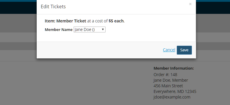 Substituting a Registrant - Edit Tickets Pop Up