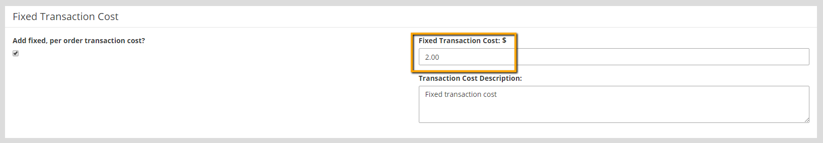 Enter Fixed Transaction Cost